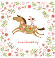 Cute Horse and little Bird vector image vector image