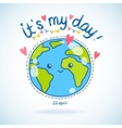 Cute cartoon Earth globe Earth day background vector image