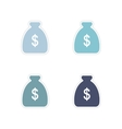 Set of paper stickers on white background money vector image
