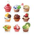 delicious yummy cupcakes vector image