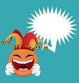 emoticon smiling jester hat bubble speech vector image