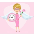 Female angel holding a pink watchs vector image