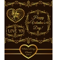 set of valentine design elements golden vector image