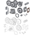 The complete set mechanisms and gears vector image