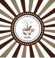 hand drawn cup of hot coffee on radiant background vector image