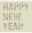 2013 happy new year xmas icons vector image