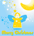 Christmas card with funny angel and the moon vector image vector image