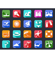 summer beach flat icons set with long shadow vector image vector image