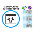 cow page rounded icon with set vector image