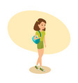 girl with bag on her shoulder goes to training vector image