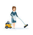 hotel employee removes dust vacuums the room vector image
