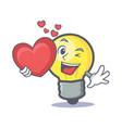 light bulb character cartoon with heart vector image