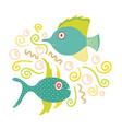 lovely hand-drawn of fishes vector image
