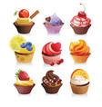 delicious yummy cupcakes vector image vector image