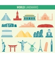World landmarks flat icon set Travel and Tourism vector image