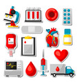 set of blood donation items medical and health vector image