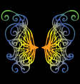 Iridescent wings of a butterfly on a black vector image vector image