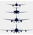 Airplanes silhouette front view vector image