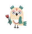 Cute cartoon owl bird holding flower colorful vector image