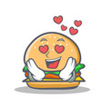 In love burger character fast food vector image