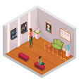 museum exhibition isometric composition vector image