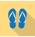 pair of blue summer flip flops vector image