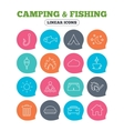 Camping and fishing icon Coffee cup hamburger vector image