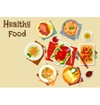 Seafood and meat dishes with vegetables icon vector image