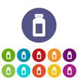 medicine bottle icons set flat vector image vector image