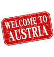 welcome to austria red square grunge stamp vector image