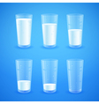 Transparent realistic glasses of milk vector image vector image