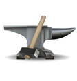 Blacksmiths anvil and hammer vector image