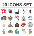 country denmark cartoon icons in set collection vector image