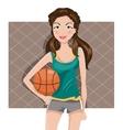 girl with a basketball vector image