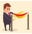 manager or businessman cuts ribbon with vector image