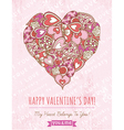 pink background with valentine heart vector image