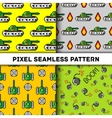 Pixel art objects to Fashion seamless vector image