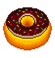 Pixel donut isolated vector image