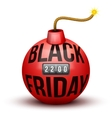 Red Bomb About To Blast with Black Friday sales vector image