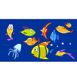 cartoon aquarium with funny fish vector image