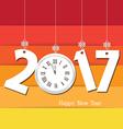 Happy new year 2017 clock Seasons Greetings vector image