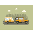 Road Traveler SUV and Camper Trailer Concept vector image