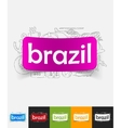 brazil paper sticker with hand drawn elements vector image