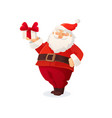 christmas card funny cartoon santa claus holding vector image