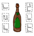craft beer bottle doodle style sketch hand drawn vector image