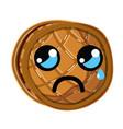 Kawaii cute crying waffles with honey vector image