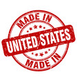 made in united states red grunge round stamp vector image