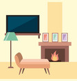rest room chair tv lamp frame and chimney flame vector image