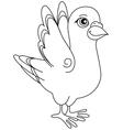 Unpainted funny cartoon pigeon positive vector image