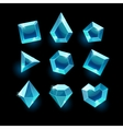 Set of cartoon blue different shapes crystal vector image